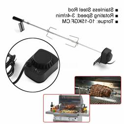 4W Stainless Steel Rotisserie Spit Roaster Grill Rod BBQ Cha
