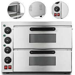 Electric 3000W Pizza Oven Double Deck Commercial Ceramic Sto