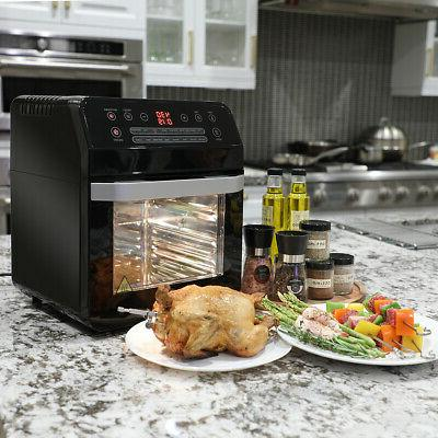 16-in-1 Electric Oven Large Rotisserie and Dehydrator,