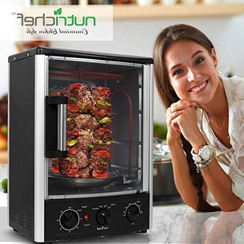Nutrichef Upgraded Rotisserie Oven - Countertop Oven with Thanksgiving, Rack 2 Shelves 1500 -