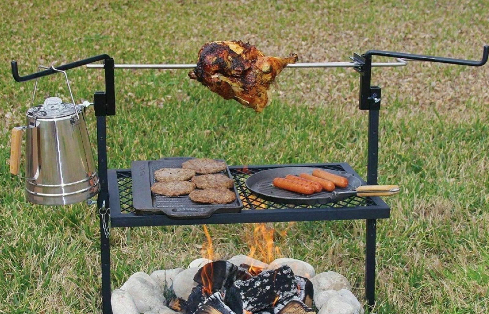 Rotisserie Grill Outdoor Campfire Cooking Camping Equipment