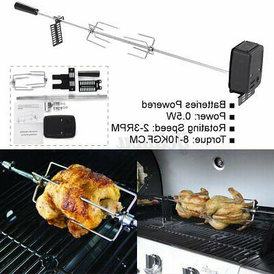 Stainless Grill Spit Roaster Rod Charcoal BBQ Motor Kit