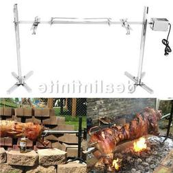 Large Grill Rotisserie Spit Roaster Rod Charcoal BBQ Pig Chi