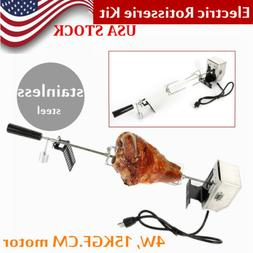 Electric Rotisserie Kit Universal Outdoor BBQ Stainless Stee