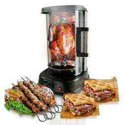 Vertical Rotisserie Oven Rotating Kebob Cooker Counter top T
